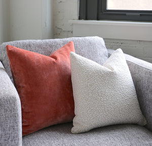 Snow Leopard pillow and Coral Velvet Pillow
