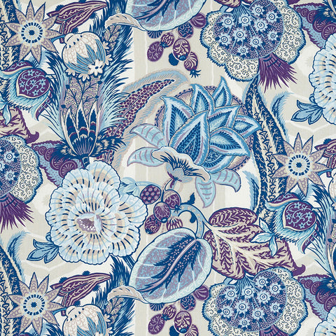 Schumacher Zanzibar Linen Fabric by the yard: Hyacinth - Annabel Bleu