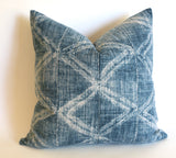 Mudcloth Style Pillow Cover in Antique Denim Blue: Available in 10 Sizes - Annabel Bleu