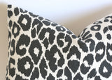 10 Sizes Available: Charcoal Iconic Leopard Decorative Pillow Cover, DOUBLE SIDED, Iconic Leopard Schumacher Accent Pillow Cover - Annabel Bleu