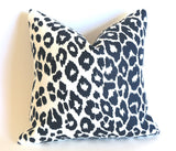 10 Sizes Available: Navy Iconic Leopard Decorative Pillow Cover, DOUBLE SIDED, Navy Iconic Leopard Schumacher Accent Pillow Cover - Annabel Bleu