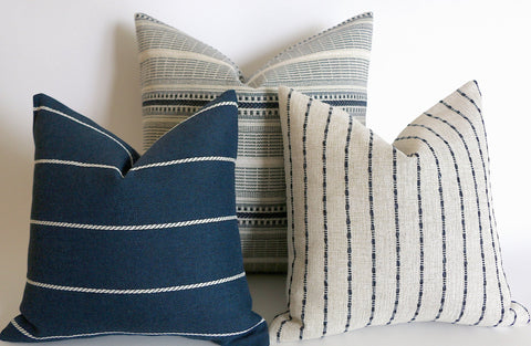 Indigo Farmhouse Collection: Navy Pillow Cover / Vintage Style Pillow Cover / Striped Performance Pillow Cover - Annabel Bleu