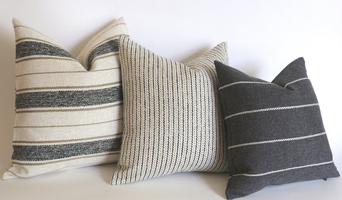 Cottonwood Falls Collection: Vintage Style Pillow Cover / Charcoal and Beige Striped Performance Pillow Cover - Annabel Bleu
