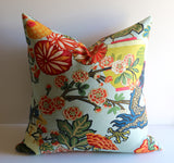 Kazo: Schumacher Chiang Mai Dragon Pillow Cover, Aquamarine - Annabel Bleu