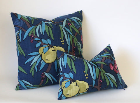 Art Nouveau Fruit Pillow Cover / Berry Citrine Navy Decorative Pillow Cover - Annabel Bleu