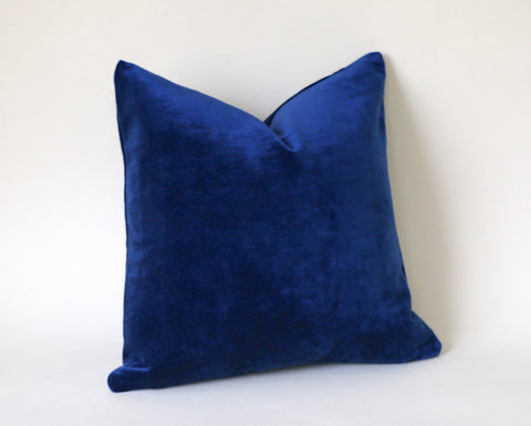 Sapphire Vintage Velvet Pillow Cover / Dark Blue 20x20 Pillow Cover or 9 Other sizes/ Navy Blue Pillow / Dark Blue Pillow / Solid Blue Cushion Cover - Annabel Bleu