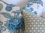 Mint Betwixt Pillow Pillow Cover: Betwixt Water/Ivory, Available in 10 Sizes - Annabel Bleu