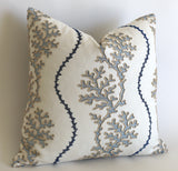 Navy Reef: Woven Herringbone or Nautical Embroidered Pillow Cover - Annabel Bleu