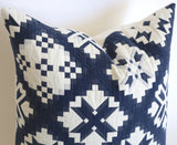 Folk Art Quilted Schumacher Pillow Cover, in Navy - Annabel Bleu
