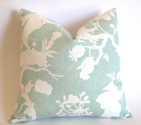 10 Sizes Available: SHANTUNG SILHOUETTE, Mineral / Schumacher Pillow Cover - Annabel Bleu