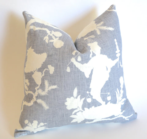10 Sizes Available: SHANTUNG SILHOUETTE, Wisteria / Schumacher Pillow Cover - Annabel Bleu