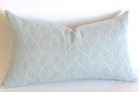 Quilted Pillow Cover: Soft Light Blue - Annabel Bleu