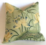 Schumacher Lotus Garden Pillow Cover / Olive, Beige & Blue - Annabel Bleu