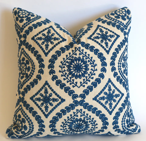 10 Sizes Available: Navy Beige Embroidered Folk Art Decorative Pillow Cover, Double Sided - Annabel Bleu