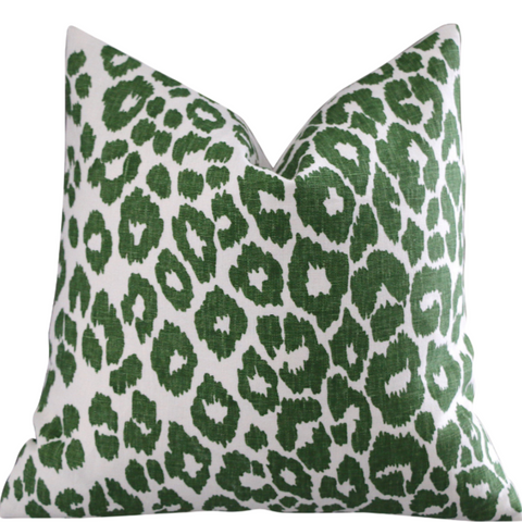 10 Sizes: Iconic Leopard Green Decorative Pillow Cover, DOUBLE SIDED, Dark Green Iconic Leopard, Schumacher Accent Pillow Cover - Annabel Bleu
