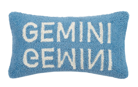 Gemini Wool Hooked Pillow - Annabel Bleu