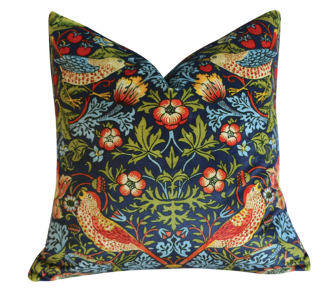 "Navy William Morris ""Strawberry Thief"" Velvet Pillow Cover - Annabel Bleu"