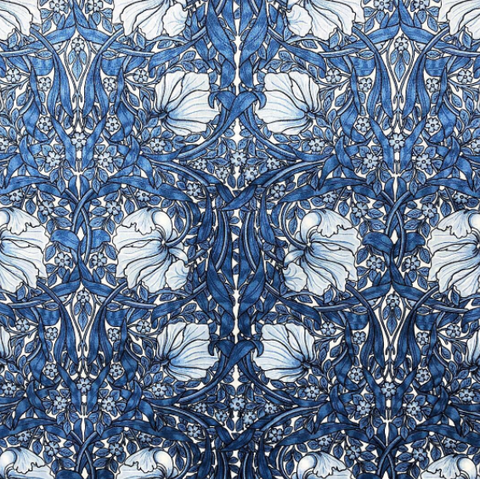 Blue Velvet William Morris Pimpernel Upholstery Fabric by the yard / Blue Velvet Home Fabric / High End Upholstery Velvet - Annabel Bleu
