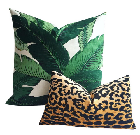 Lush: Banana Leaf Linen Pillow Cover - Annabel Bleu