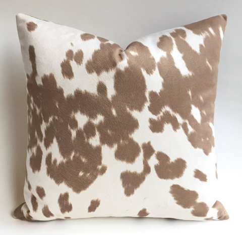 Kyla: Faux Leather Palomino Pillow Cover - Annabel Bleu