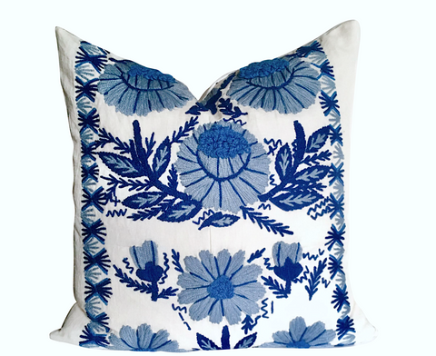 Abigayl: Swedish Hand Embroidered Wool & Linen Pillow Cover - Annabel Bleu