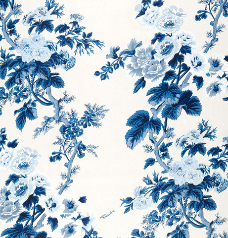 Schumacher Fabric by the yard: PYNE HOLLYHOCK, Indigo - Annabel Bleu