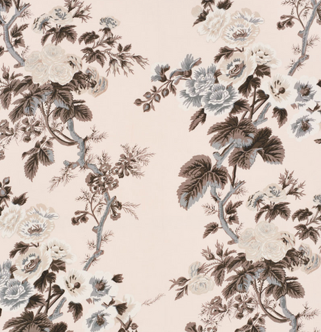 Schumacher Fabric by the yard: PYNE HOLLYHOCK, Blush - Annabel Bleu