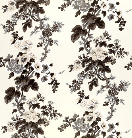 Schumacher Fabric by the yard: PYNE HOLLYHOCK, Charcoal - Annabel Bleu