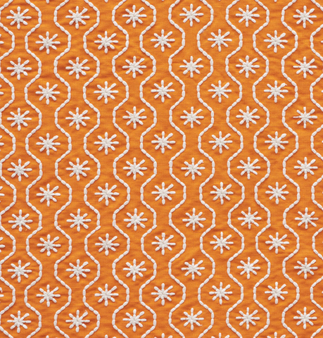 Gigi: Orange and White Embroidered Schumacher fabric by the yard - Annabel Bleu