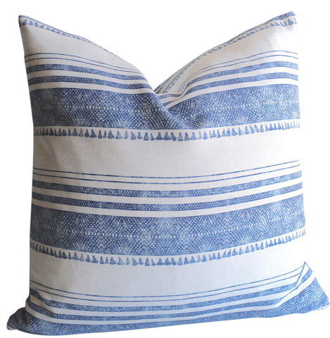 Chambray: Tassel Print Linen Pillow Cover - Annabel Bleu