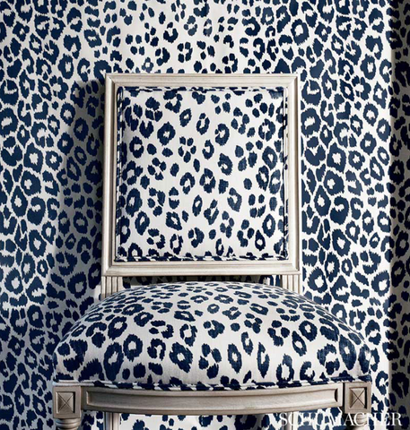 Schumacher Fabric by the yard: Iconic Leopard, Ink - Annabel Bleu