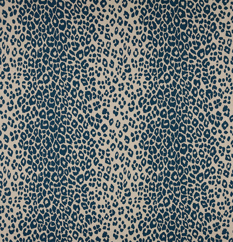 Schumacher Fabric by the yard: Iconic Leopard, Ink/Natural - Annabel Bleu