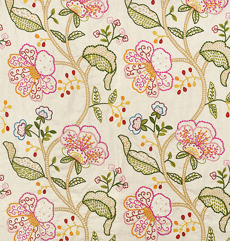 Bloom: Hand Embroidered Schumacher Fabric by the yard - Annabel Bleu