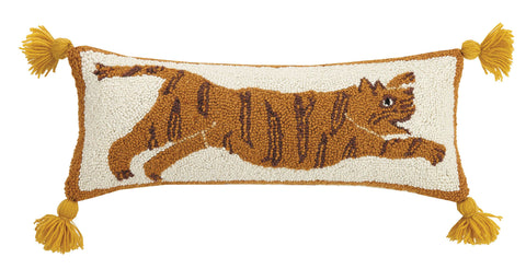 Tiger Wool Hooked Pillow with Tassels - Annabel Bleu