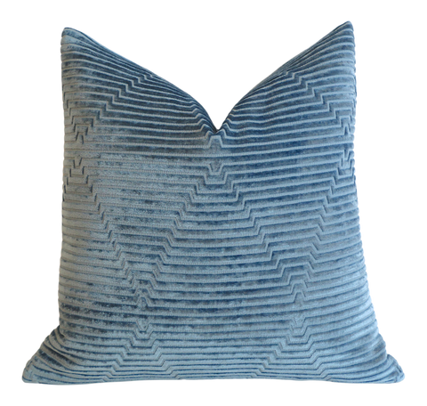 Blue Velvet pillow cover / Delft Blue pillow / Geometric Blue Cushion Cover Available in 10 Sizes - Annabel Bleu