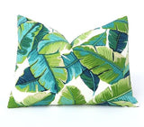One Miami Style Tropical Palm Leaves Pillow Cover / Banana Leaf Outdoor Pillow: Aqua Turquoise Navy - Annabel Bleu