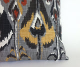 Southwestern Ikat Decorative pillow cover / Grey and Yellow Aztec pillow cover 26x26 20x20 / Ikat Tribal Pillow Cover - Annabel Bleu