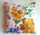 Painted Flowers Decorative Cushion /Pink Throw Pillow Cover / Ivory Rose Gold Pillow / Modern Floral Cushion cover - Annabel Bleu