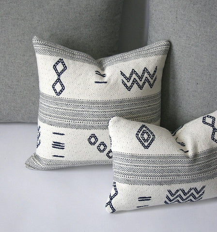 Woven Indigo Cream & Grey Accent Pillows / Grey Pillows For Couch / Accent Pillow Covers - Annabel Bleu