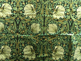 Velvet William Morris Pimpernel Upholstery Fabric by the yard / Green Velvet Leopard Home Fabric / High End Upholstery Velvet - Annabel Bleu