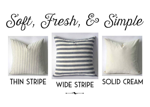 Navy Stripe 22x22 pillow cover / Navy Cream 22x22 pillow / Blue pillow covers 22x22 / Farmhouse Striped Pillow 22x22 / French pillow Cover - Annabel Bleu