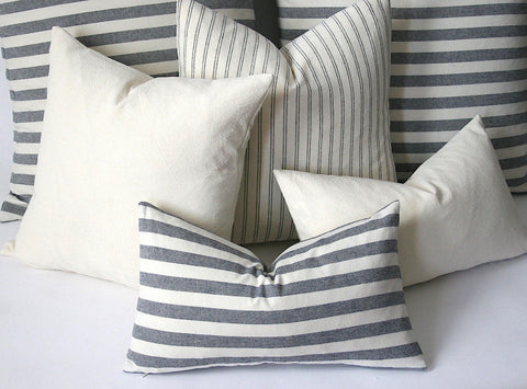 Striped Pillow Covers / European Farmhouse Pillows / Soft Textured Vintage Washed Cotton / Cotton Pillow Case / Striped Cushion - Annabel Bleu