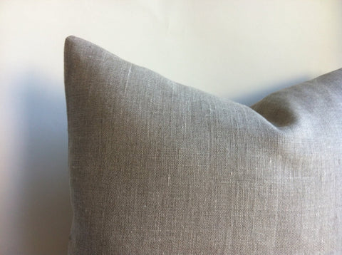 Rustic Grey Beige European Linen Decorative Zipper Pillow Cover Oatmeal Linen Greige Linen Industrial Cushion Cover: 10 Sizes - Annabel Bleu