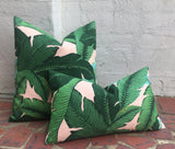PINK background Beverly Hills Banana Leaf Zippered Pillow Cover / Indoor Outdoor Pink pillow Cover - Annabel Bleu