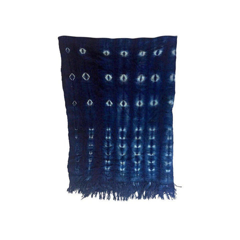 One Indigo Mudcloth Fabric Throw Blanket 3.5 feet x 5 feet Mud Cloth African tribal Bohemian fabric Large Rectangular Tapestry - Annabel Bleu