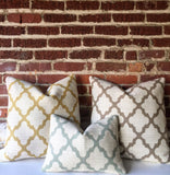 Geometric Upholstery Pillow Cover in Yellow, Beige or Sage Green Zipper pillow cover 14x36 20x20 Quatrefoil Fabric Pillow Cover - Annabel Bleu