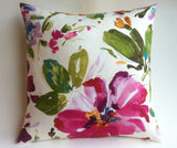 Abstract Fuchsia Floral Pillow Cover 18x18 20x20 24x24 26x26 Flower pillow Ivory Pink Gold Accent Zipper Linen Cushion cover - Annabel Bleu