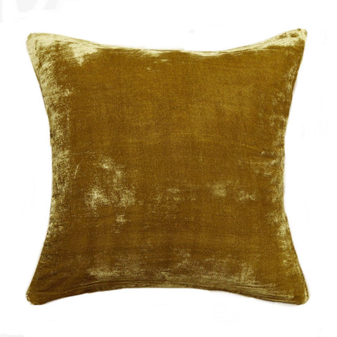 Citrine Gold Silk Pillow Cover / Silk Velvet Yellow Pillow Cover / Solid Velvet pillow case / Gold Velvet Pillow - Annabel Bleu