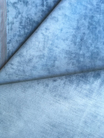 Ice Blue Upholstery Fabric by the yard / Light Blue Velvet Home Fabric / High End Upholstery Velvet / Vintage Upholstery Velvet - Annabel Bleu