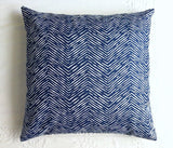 One Navy Herringbone Tweed Style Zippered Pillow Cover - Annabel Bleu